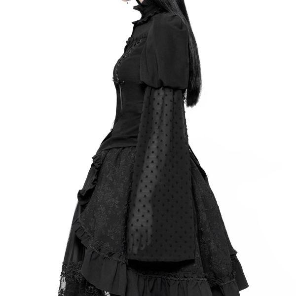 Gothic Lolita Bluse mit Polka Dot Tüllärmeln