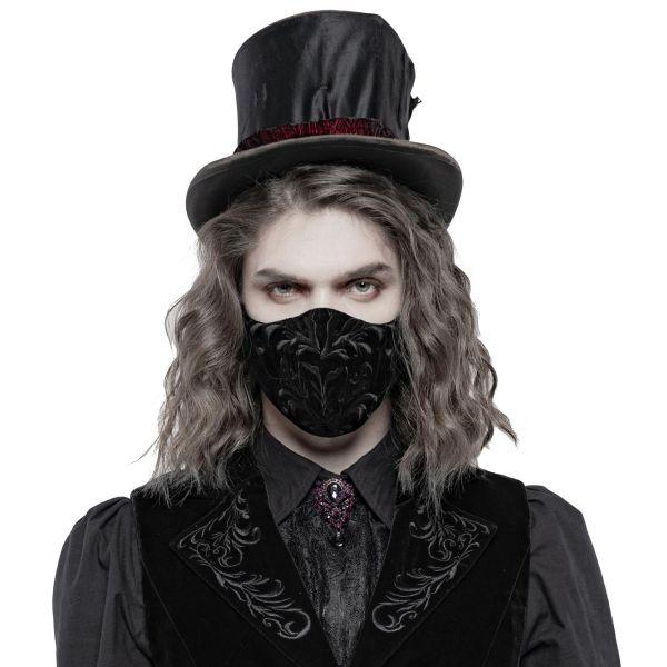 Schwarze Samt Gesichtsmaske mit gesticktem Ornament
