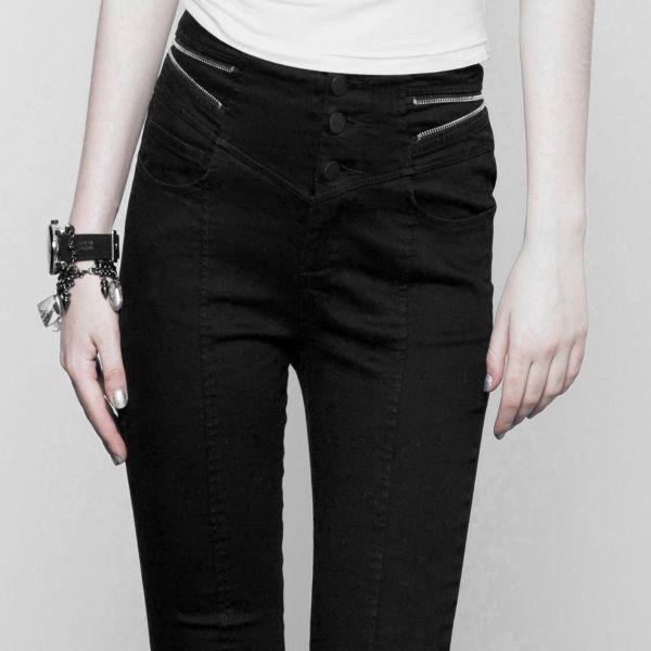Daily Goth Skinny Jeans mit Schlitzen und Zippern