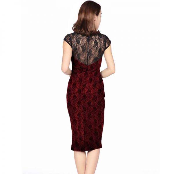 7c685109d256 Rotes Pencil Kleid mit schwarzer Spitze