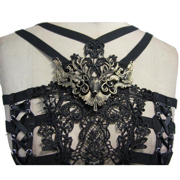 Brust Harness mit Häkelspitze und Antik Look Ornament