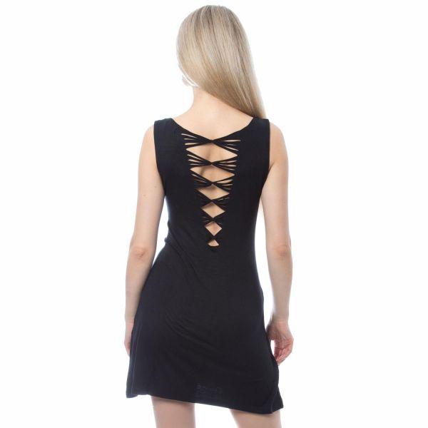 Shirtkleid mit V-Ausschnitt und Schnür-Look am Rücken