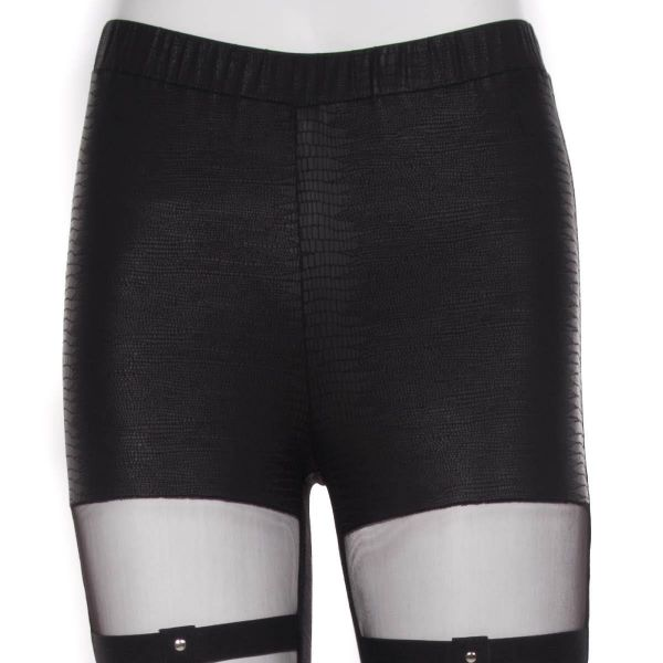 Gothic Style Leggings mit Spitze in sexy Straps-Optik