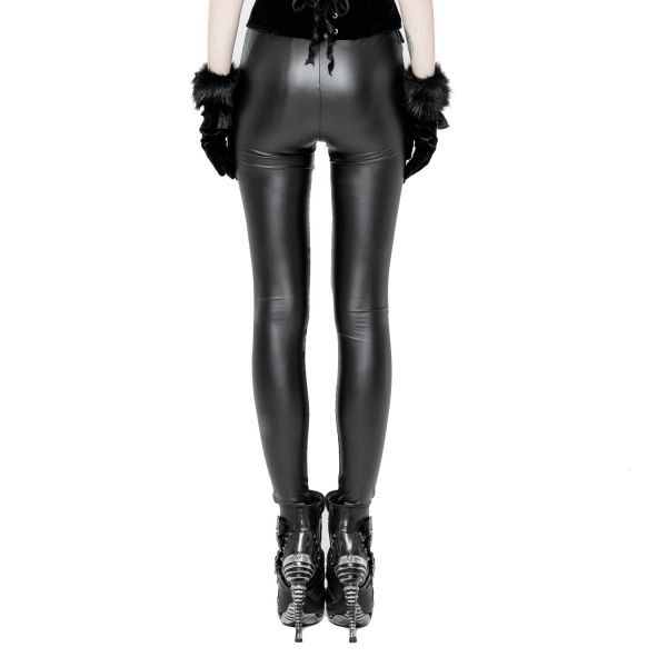 Dark Romantik Lederlook Leggings mit Häkelspitze