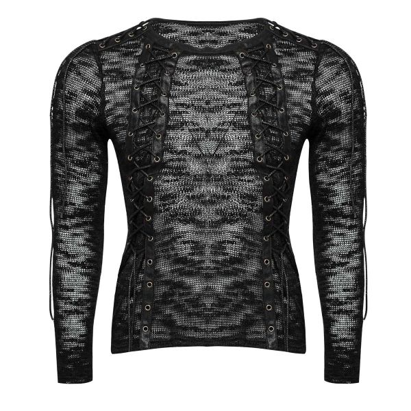 Pullover in Nu Goth Strickoptik mit Schnürungen