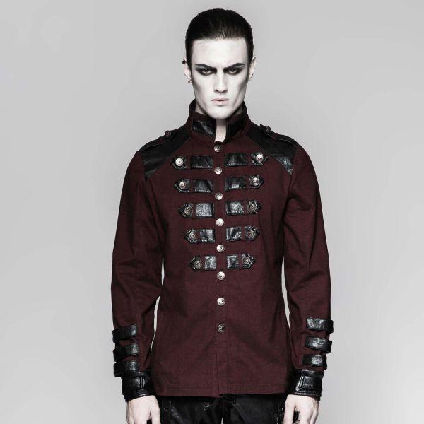 Uniform Hemd mit Stehkragen und Lederimitat rotbraun