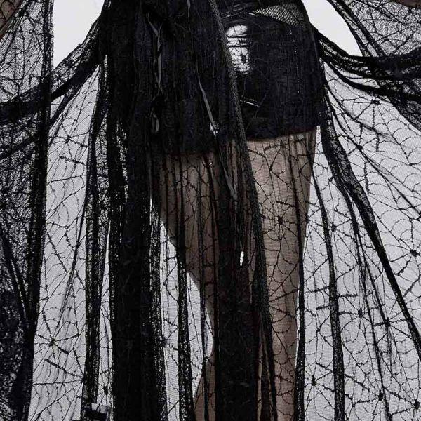 Blusenmantel aus Spinnennetz Spitze mit Kapuze