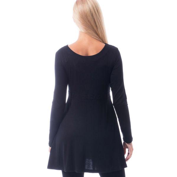Glocken Shirt-Kleid mit V-Ausschnitt