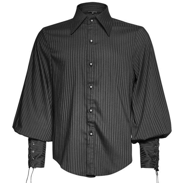 Nadelstreifen Hemd mit geschnürten Arm Manschetten