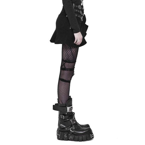 Punk Minirock mit asymmetrischen Rüschen und Schnallen