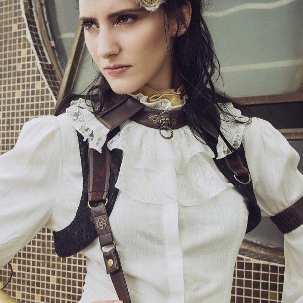 Weisse Steampunk Bluse mit Rüschenkragen und Puffärmeln