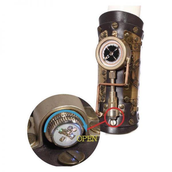 Steampunk Armschiene in Lederoptik mit Kompass