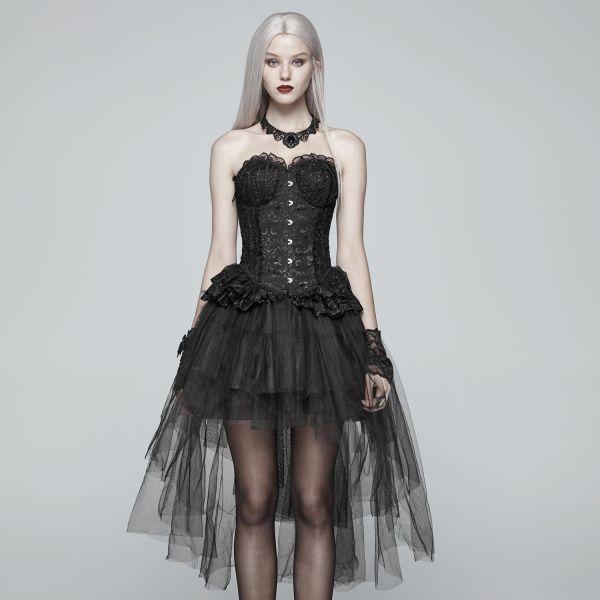 Gothic Lolita Tüll Vokuhila Rüschenrock mit Schleppe