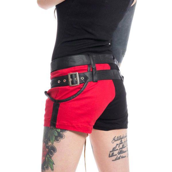 Shorts im Harlekin Look mit rotem und schwarzem Bein