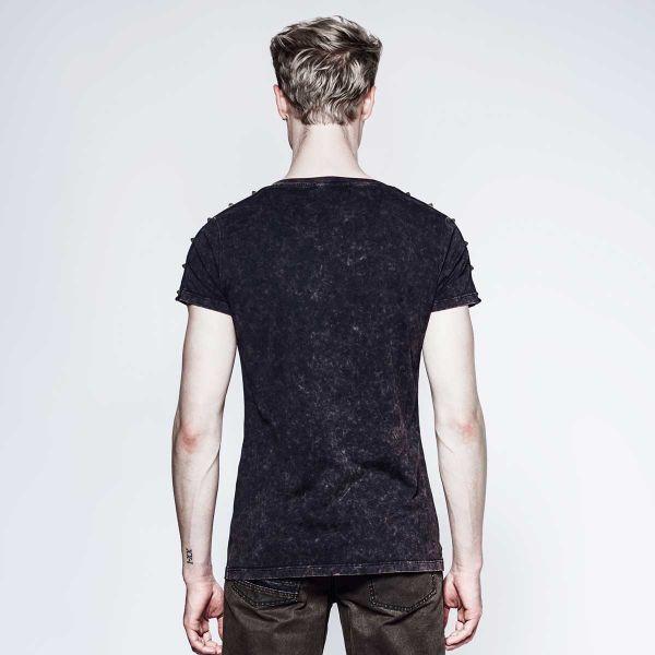 Gothic T-Shirt mit Skull Print & Zippern