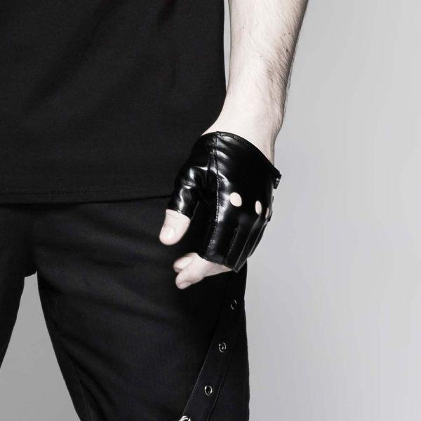 Schwarze Autofahrer Handschuhe in Retro Lederoptik