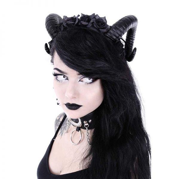Gothic Haarreif Teufelshörner mit schwarzen Rosen