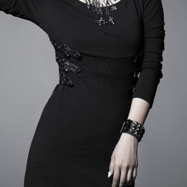 Daily Goth Minikleid mit Schnallen und Spinnennetz