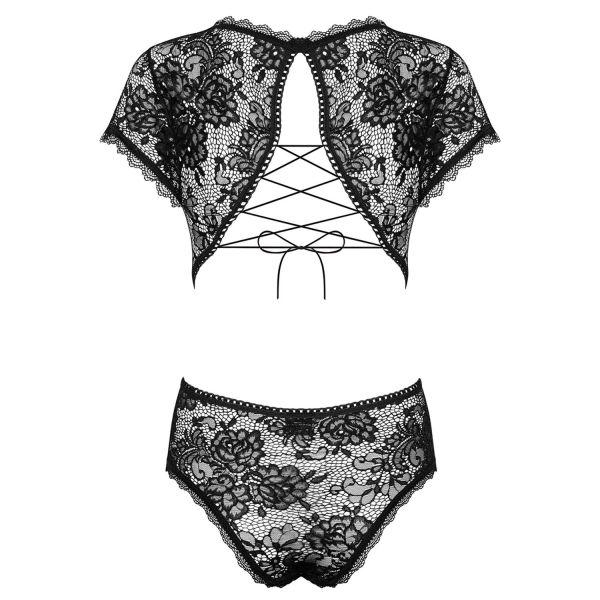 Spitzenbody mit Cut-Out und Rücken im Schmetterling-Design