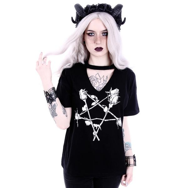 Gothic Style T-Shirt mit Halsband Rosen Pentagramm