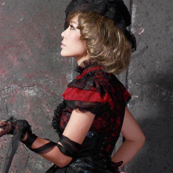 Rote Gothic Lolita Rüschenbluse mit schwarzer Spitze