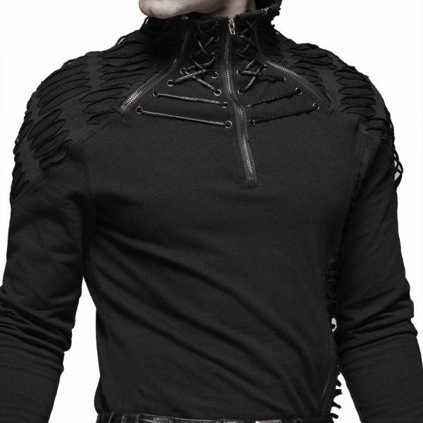 Industrial Shirt mit Schlitzen und Stehkragen