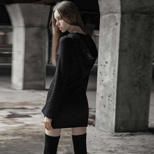 Casual Shirtkleid mit sexy Schlitz und Zipfelkapuze