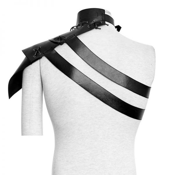Lederimitat Top im Harness Schuppenpanzer Look