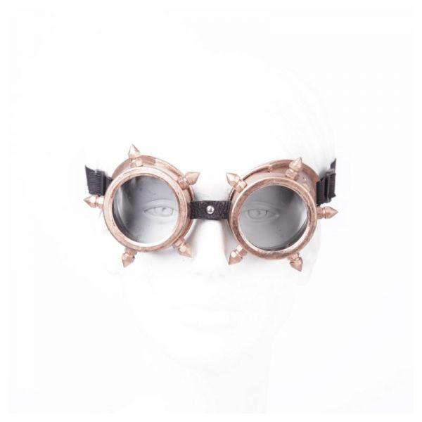 Bronzefarbene Steampunk Goggles mit Killerspikes
