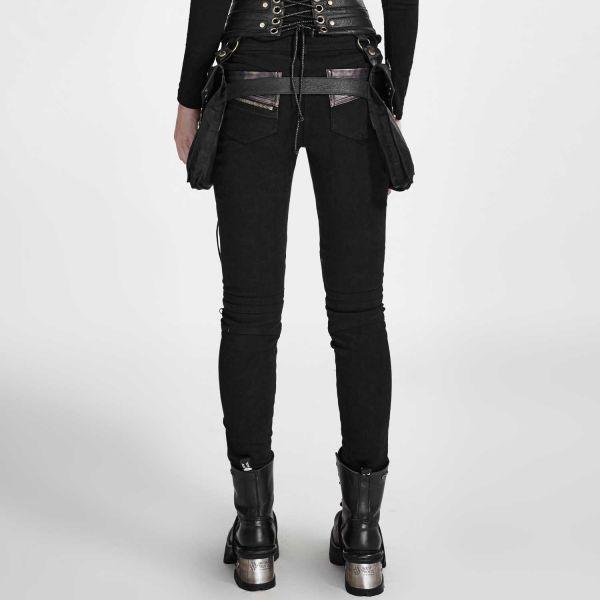 Punk Hose mit Nieten, Zippern und Kunstleder