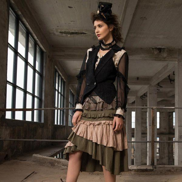 Steampunk Bluse mit Rüschen und Tüllärmeln mit Spitze