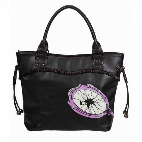 Schwarze Handtasche mit Black Cat und 13 Aufdruck