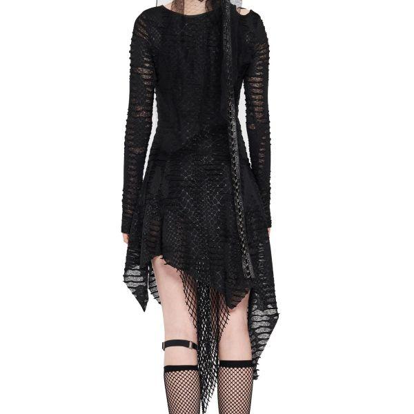 Destroyed Kleid im Layering-Look mit Rissen und Schlitzen