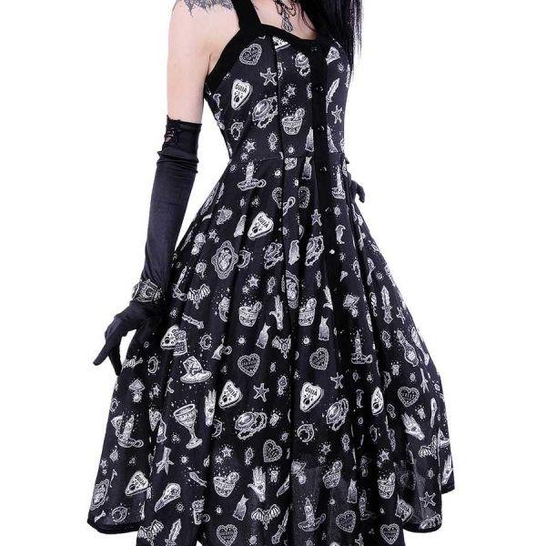 Schwarzes Retro Kleid mit Neckholder und Aufdrucken