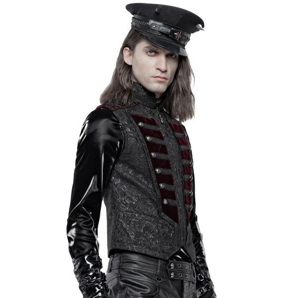 Aristokraten Jacquard Weste im Uniform Look mit Samt