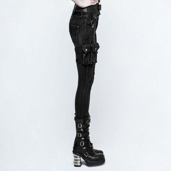 Punk Rave Hose mit Nieten, Beinholstern und Tasche