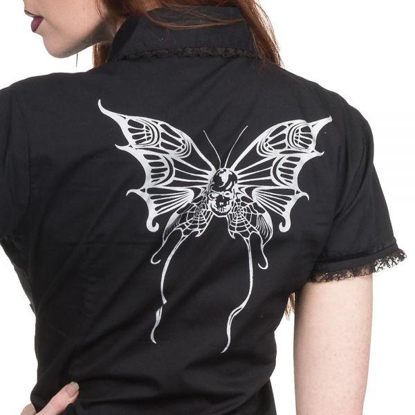 Bluse mit Schnürungen, Spitze und Butterfly Skulls