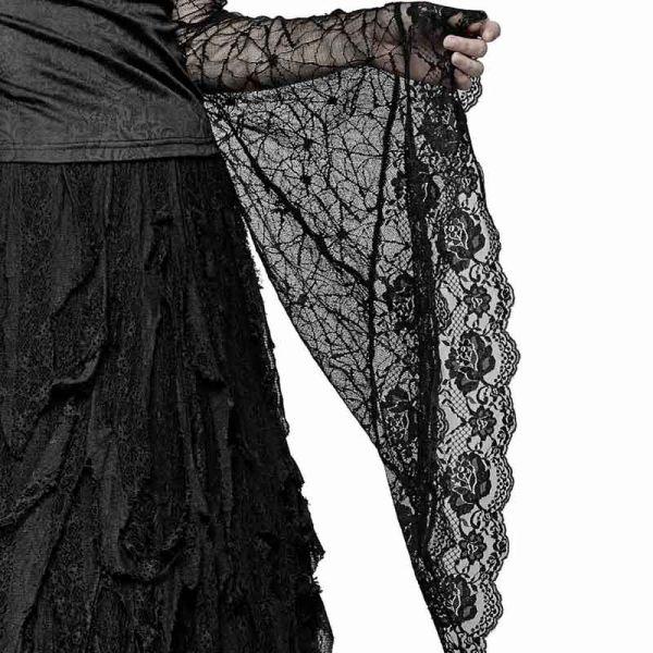 Bluse mit langen Spitzen Trompetenärmeln im Hexen Look