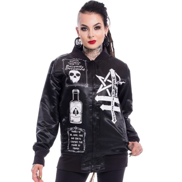 College Jacke im Okkult Style in schwarzer Glanz-Optik