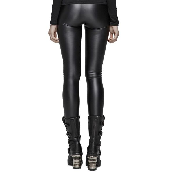 Lederlook Leggings im Dark Romantic Look mit Spitze