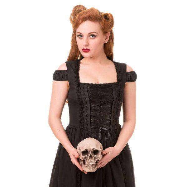 Gothic Kleid in Cold-Shoulder Corsagenoptik