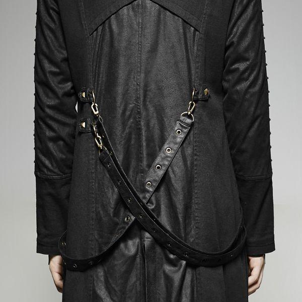 Langer schwarzer Mantel mit Stehkragen und Zipfelkapuze