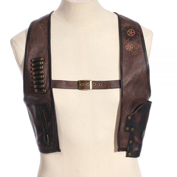 Steampunk Harness Weste mit Holster und Tasche