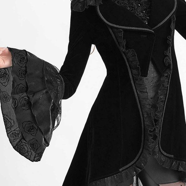 Viktorianischer Samt Mantel mit Trompetenärmeln