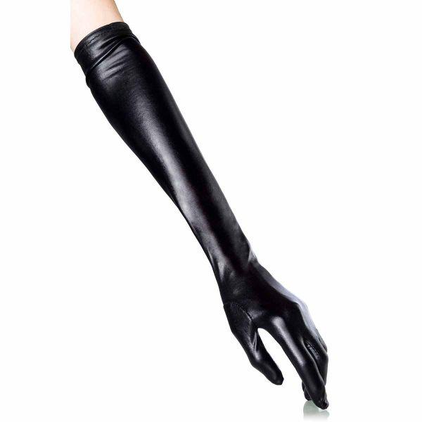 Extravagante schwarze Wetlook Handschuhe
