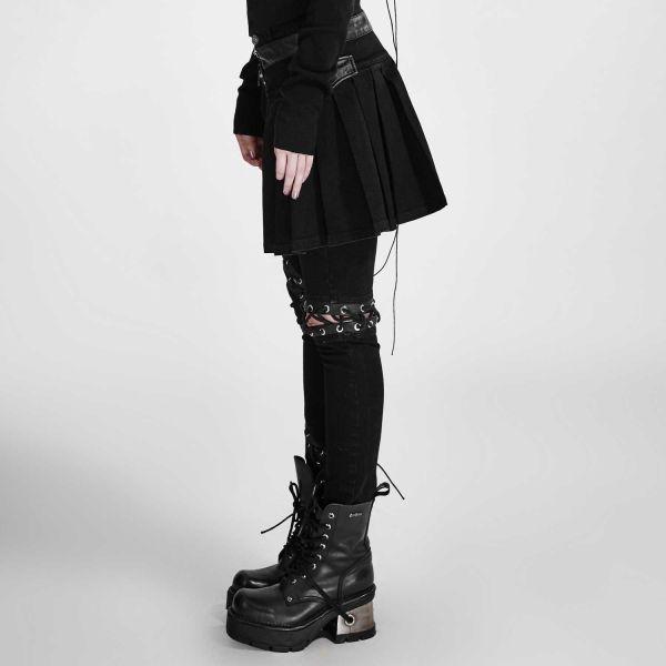 Punk Hose mit Schnürungen und abnehmbarem Rockteil