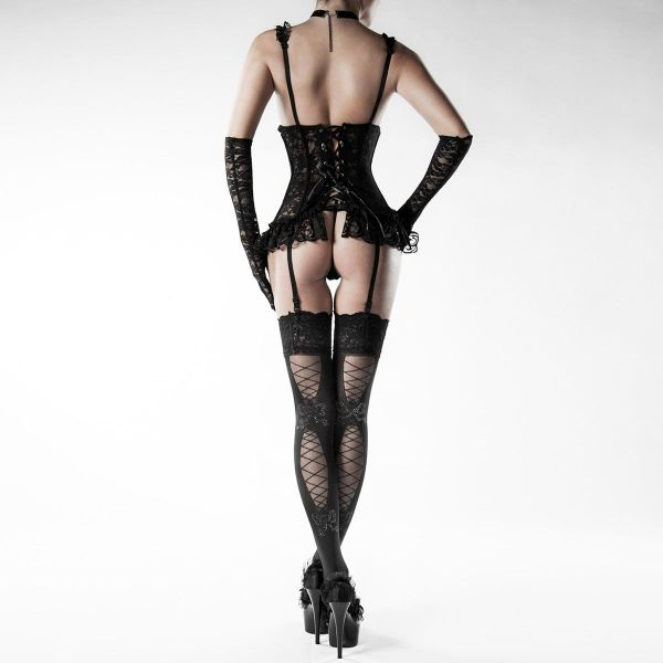 Dark Romantic Spitzen Corsage Straps Komplett Outfit