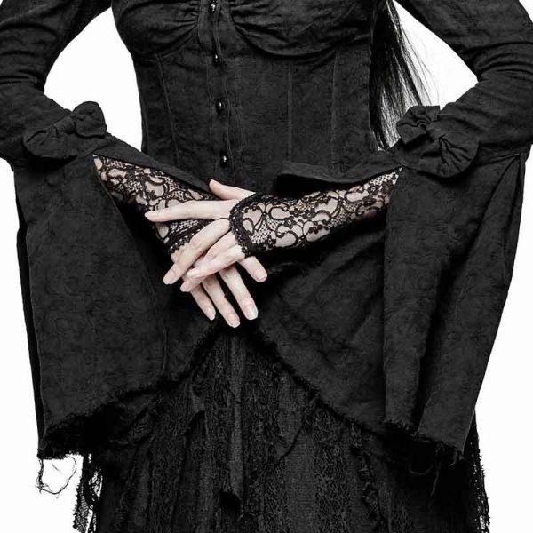 Bluse in viktorianischem Look mit Trompetenärmeln