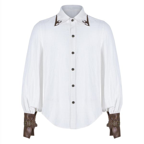 Steampunk Hemd mit Manschetten im Armschienen Look