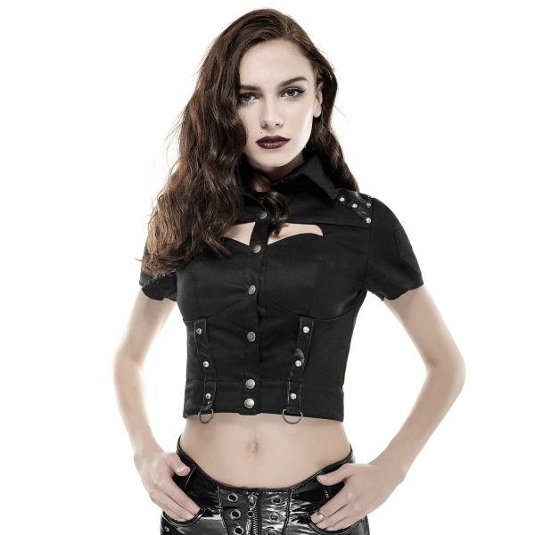 Schwarze bauchfreie Bluse im Uniform Look mit Nieten